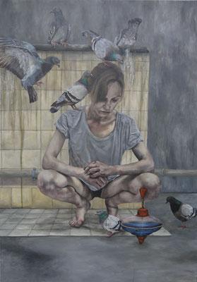 m Fuchsbau kotzt sich die Taubheit noch selber an . 2016 . 180x125 . oil and acryl on canvas