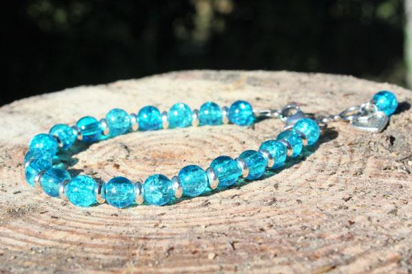 bracelet perles en verre et acier inoxydable 12€