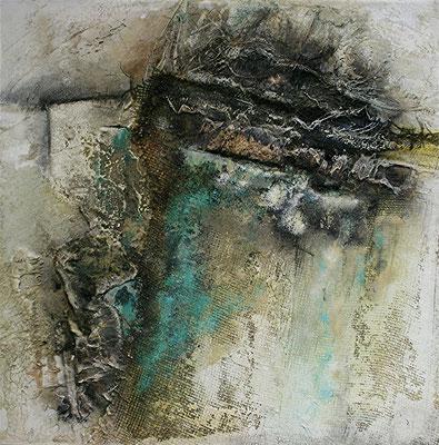 Aufwärts strebend, Marmormehl, Jute auf Leinwand, 80 x 80 cm, Preis auf Anfrage