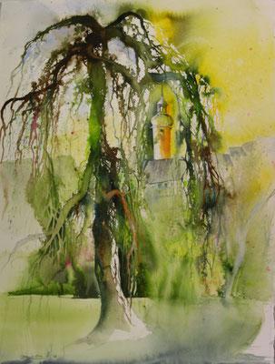 Schlosspark Greiz, Blick zum oberen Schloss, Aquarell , 56 x 76 cm, 2017, Preis auf Anfrage