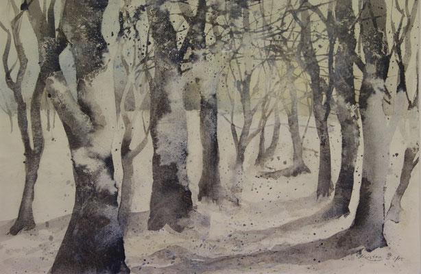 Winterwald 2, Aquarell auf Ingres-Echt-Bütten, 48 x 31 cm, 2015, Preis auf Anfrage