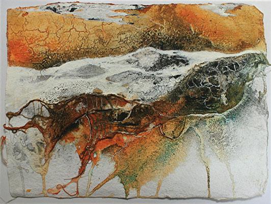Dünenlandschaft, Marmormehl, Gaze auf Bütten, 21 x 30 cm, 2013, verkauft