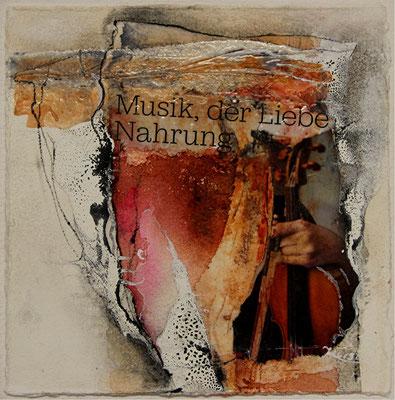 Musik, der Liebe Nahrung, Collage, Tusche, Aquarell, Kohle, 22 x 22 cm, 2014, verkauft