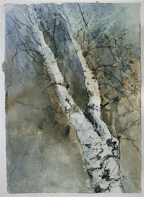 MaRah VII - Dem Licht entgegen, Acrylmischtechnik auf Papier, 49 x 57 cm, 2013, Preis auf Anfrage