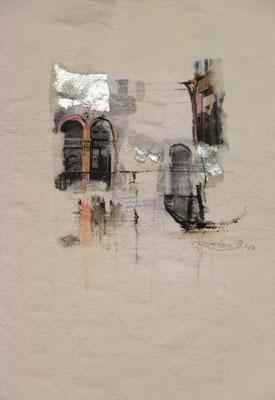 Venezia 2, Collage auf handgeschöpftem Hadernbütten, Aquarell, 21 x 30 cm, 2017, Preis auf Anfrage
