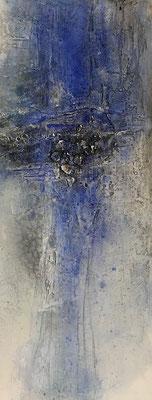 Blaue Stunde II, Marmormehl, Sumpfkalk, Pigmente, Tusche, Wachs, 100 x 40 cm, 2018, Preis auf Anfrage