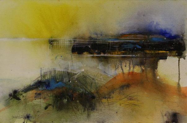 Imagination einer Landschaft II, Aquarell auf Hadernbütten, 38 x 56 cm, 2014, Preis auf Anfrage