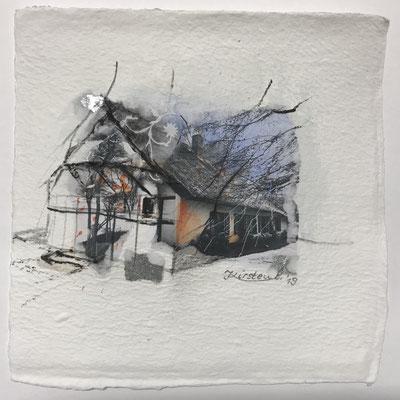 Dornenhaus Ahrenshoop/Darß, Collage auf handgeschöpftem Hadernbütten, Aquarell, 22 x 22 cm, 2019