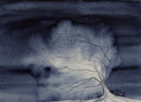 Blauer Baum, Aquarell auf Hadernbütten, 50 x 65 cm, 2004, unverkäuflich