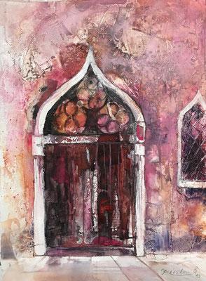 Venezianische Tür Rosa (Serie alte Türen), Sumpfkalk-Mischtechnik auf Hadernbütten, 38 x 50 cm, 2019, Preis auf Anfrage