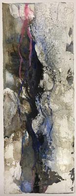 Aquarell trifft Sumpfkalk Blau 2, Sumpfkalkmischtechnik auf Hadernbütten, 19 x 50 cm, 2020