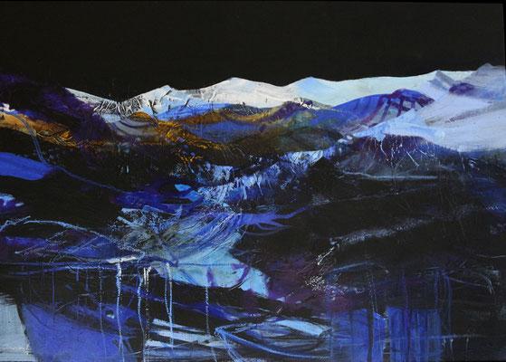 Wintersonnenwende, Acrylmischtechnik auf Leinwand im Schattenfugenrahmen, 70 x 100 cm, 2016, Preis auf Anfrage