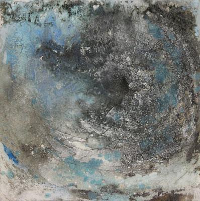Mondnacht, Kaffee, Gipshaftputz auf Leinwand, 60 x 60 cm, 2016, Preis auf Anfrage