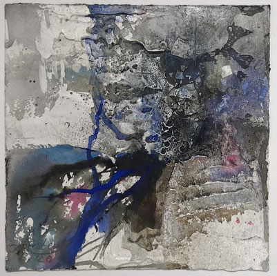 Aquarell trifft Sumpfkalk Blau 6, Sumpfkalkmischtechnik auf Hadernbütten, 22 x 22 cm, 2020
