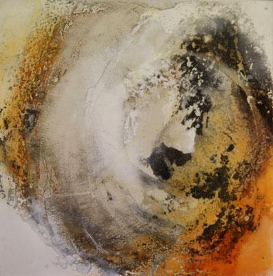 Sonnengesang, Kaffee, Gipshaftputz auf Leinwand, 60 x 60 cm, 2016, Preis auf Anfrage