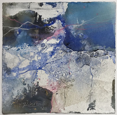 Aquarell trifft Sumpfkalk Blau 5, Sumpfkalkmischtechnik auf Hadernbütten, 22 x 22 cm, 2020