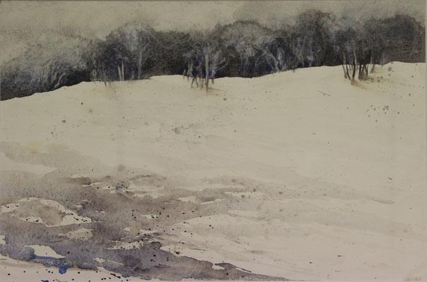 Weite Winterlandschaft, Aquarell auf Ingres-Echt-Bütten, 48 x 31 cm, 2015, Preis auf Anfrage