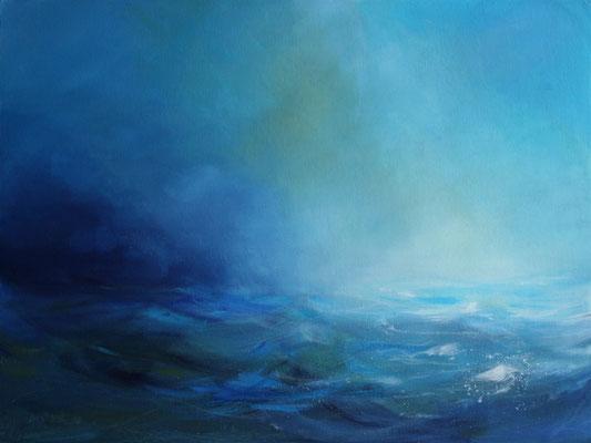 Blaue Brandung III, Acryl auf Malplatte, 60 x 80 cm, 2009, verkauft