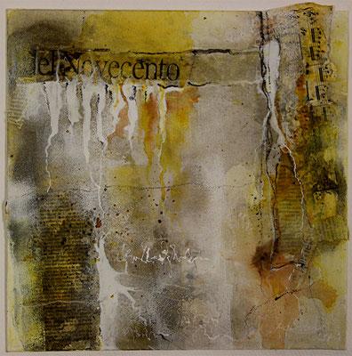 Del novecento, Collage, Marmormehl, Kohle, auf Malplatte 30 x 30 cm, 2014
