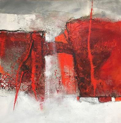 Spaß muss sein, Acrylmischtechnik (Collage, Bitumen, Asche, Acryl, Pigmente, Wachs) auf Leinwand, 100 x 100 cm, 2018, Preis auf Anfrage