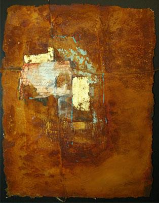 Secret letter I, Rostmischtechnik auf handgeschöpftem Bütten, 30 x 42 cm, 2012, verkauft