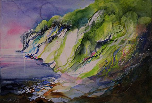 Kreideküste am Königstuhl, Rügen, Aquarell auf Hadernbütten, 75,5 x 51,5 cm, 2014, Preis auf Anfrage