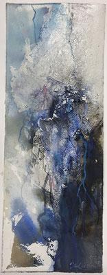 Aquarell trifft Sumpfkalk Blau 3, Sumpfkalkmischtechnik auf Hadernbütten, 19 x 50 cm, 2020