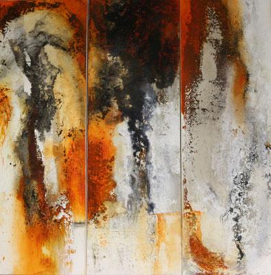 Sonnensturm II, Kaffee, Baumaterial, Sumpfkalk auf Leinwand, Triptychon je 40 x 120 cm, 2017, Preis auf Anfrage
