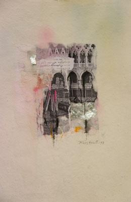 Venezia 5, Collage auf handgeschöpftem Hadernbütten, Aquarell, 21 x 30 cm, 2017, Preis auf Anfrage