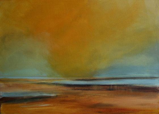 Wetterleuchten über dem Watt, Acryl auf Malplatte, 50 x 70 cm, 2009, Preis auf Anfrage