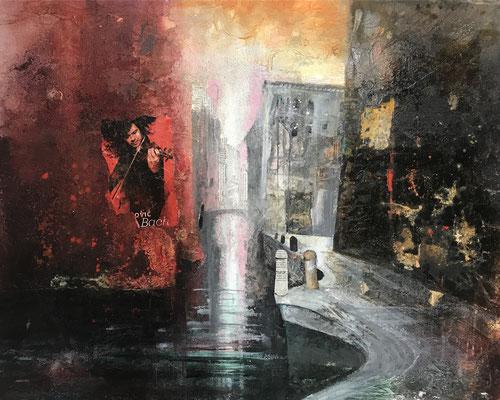 Der Teufelsgeiger (Rio di San Pantalon, Venedig), Mixed Media auf Leinwand 100 x 80 cm, 2019, Preis auf Anfrage