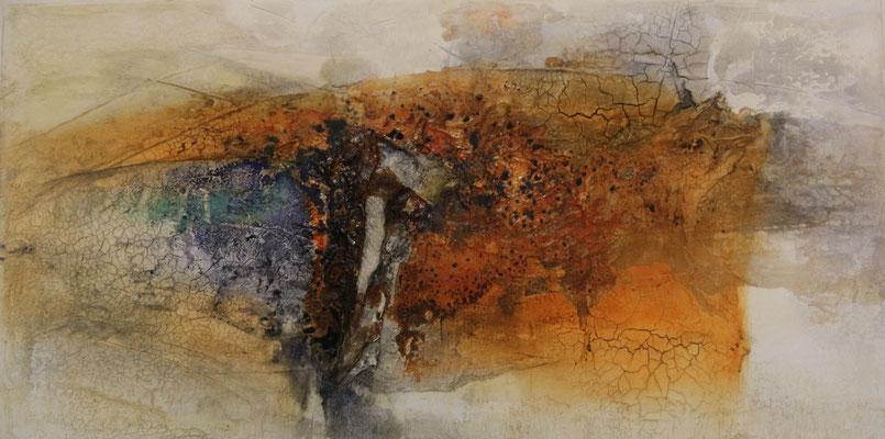 Lebensräume, Marmormehl, Gaze auf Leinwand, 100 x 40 cm, 2016, Preis auf Anfrage
