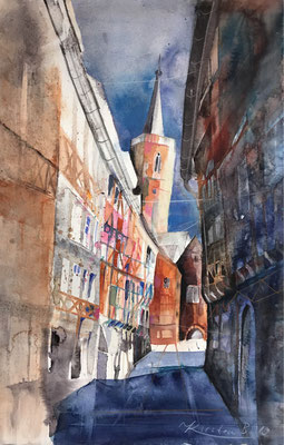 Krämerbrücke, Erfurt, Aquarell auf Hadernbütten, 56 x 38 cm, 2019, Preis auf Anfrage