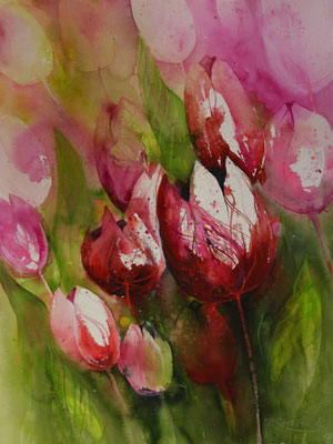 Tulpen III, Aquarell auf Hadernbütten, 56 x 76 cm, 2017, Preis auf Anfrage