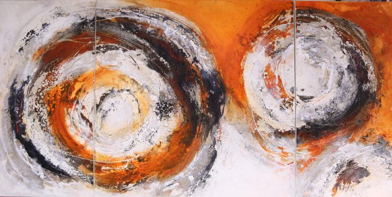 Sonnengesang 2, Kaffee, Baumaterial, Sumpfkalk auf Leinwand, Triptychon 100 x 50 - 100 x 100 - 100 x 50 cm, 2017, öffentlicher Ankauf