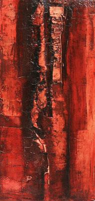 Struktur in Rot II Marmormehl, Öl auf Leinwand, 40 x 80 cm, 2013, unverkäuflich
