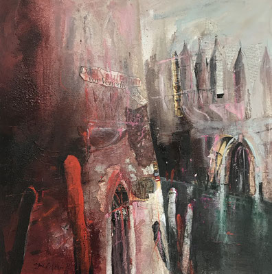 Der Kaufmann von Venedig, Mixed Media auf Leinwand 80 x 80 cm, 2019, Preis auf Anfrage