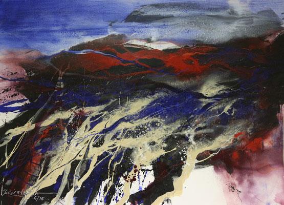 Stürmische Landschaft, Acryl auf Hadernbütten, 105 x 75 cm, 2016, Preis auf Anfrage