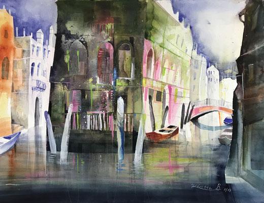 Rio die San Giovanni Laterano, Venedig Aquarell auf Hadernbütten, 56 x 76 cm, 2017, Preis auf Anfrage