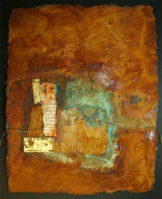 Secret letter II, Rostmischtechnik auf handgeschöpftem Bütten, 30 x 42 cm, 2012, verkauft