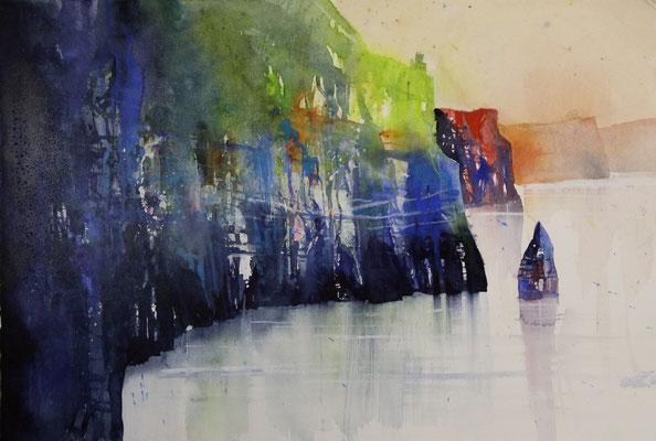 Cliffs of Moher, Irland (entstanden in einem pleinair-Kurs mit Wilhelm Fikisz), Aquarell auf Hadernbütten, 38 x 56 cm, 2016, Preis auf Anfrage