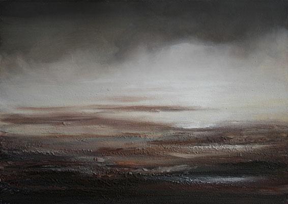 Heranziehendes Unwetter, Acrylmischtechnik auf Finnpappe, 50 x 70 cm, 2009, verkauft