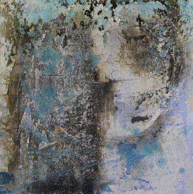 Nordkap, Kaffee, Gipshaftputz auf Leinwand, 60 x 60 cm, 2016, Preis auf Anfrage