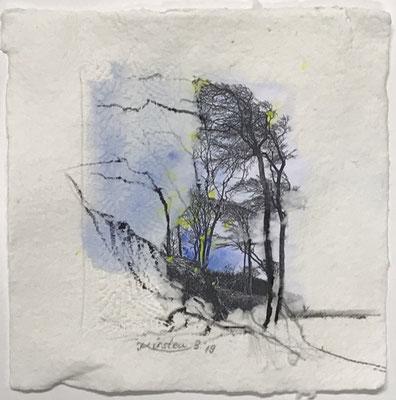 Darßer Weststrand, Collage auf handgeschöpftem Hadernbütten m. Prägedruck, Aquarell, 22 x 22 cm, 2019