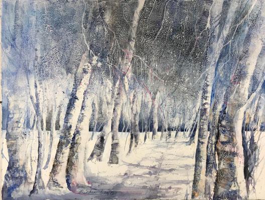 Birkenallee im Frost II, Aquarellmischtechnik auf Hadernbütten, 76 x 56 cm, 2019, Preis auf Anfrage