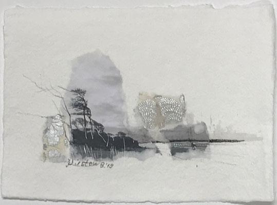 Darßer Weststrand IV, Collage auf handgeschöpftem Hadernbütten, Aquarell, 21 x 15 cm, 2019