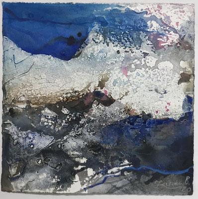 Aquarell trifft Sumpfkalk Blau 7, Sumpfkalkmischtechnik auf Hadernbütten, 22 x 22 cm, 2020