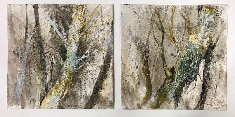 Kleine Waldstücke I und II, Acrylmischtechnik auf Eco-Printing, Malplatte, je 20 x 20 cm, 2018, Preis auf Anfrage