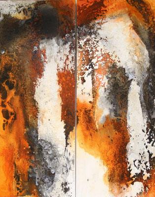 Sonnensturm I, Kaffee, Baumaterial, Sumpfkalk auf Leinwand, Diptychon je 40 x 100 cm, 2017, Preis auf Anfrage