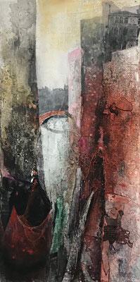 Venezia rot I, Sumpfkalkmischtechnik, Collage auf Leinwand, 40 x 80 cm, 2019, Preis auf Anfrage